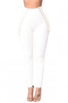Women Eyelet Cross Lace Up High Waist Skinny Leisure Pants White