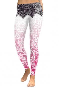 Women Skinny Elastic Contrast Color Printed Leggings Light Pink