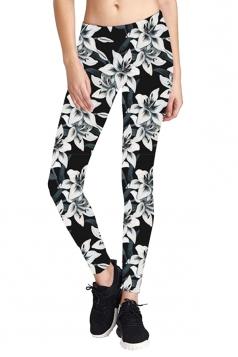 Womens Skinny Elastic Floral Printed Yoga Sport Leggings Black