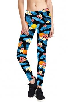 Womens Skinny Elastic Floral Printed Yoga Sport Leggings Multicolor