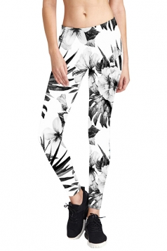 Womens Skinny Elastic Floral Printed Yoga Sport Leggings White