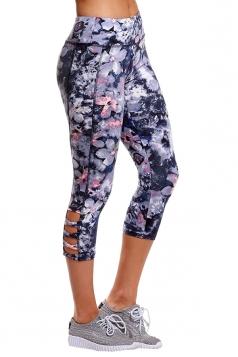 Womens Elastic Floral Printed Capri Yoga Sport Leggings Blue