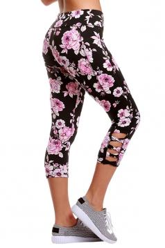 Womens Elastic Floral Printed Capri Yoga Sport Leggings Rose Red