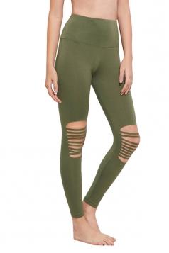Womens Ripped Hight Waist Plain Yoga Sport Leggings Army Green