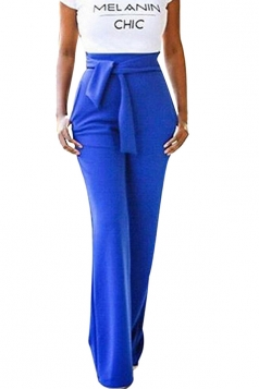 Women Elegant Wide Legs Belt Plain Pants Blue