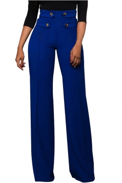 Women Button Decoration Wide Legs High Waist Pants Blue