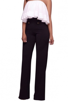 Women Button Decoration Wide Legs High Waist Pants Black