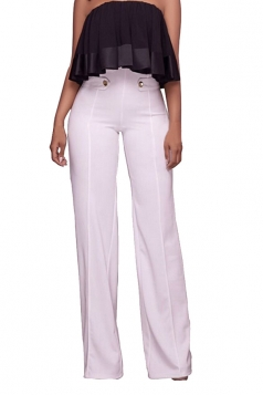 Women Button Decoration Wide Legs High Waist Pants White