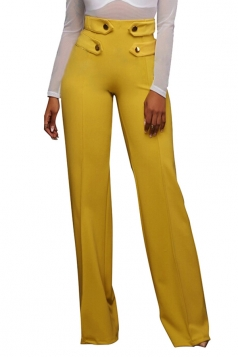 Women Button Decoration Wide Legs High Waist Pants Yellow