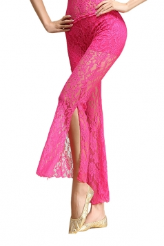 Women Lace See Though Side Split Belly Dance Pants Rose Red