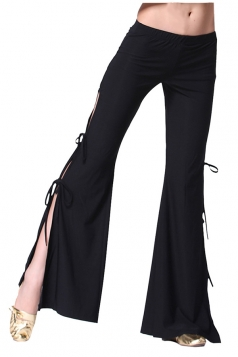 Women Sexy Side Split Lace Up Belly Dance Pants Black