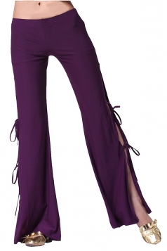 Women Sexy Side Split Lace Up Belly Dance Pants Purple
