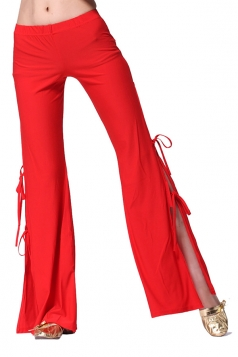 Women Sexy Side Split Lace Up Belly Dance Pants Red