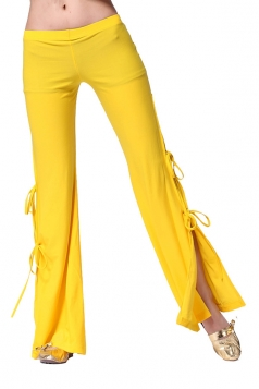 Women Sexy Side Split Lace Up Belly Dance Pants Yellow