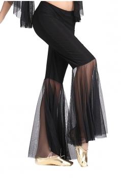 Women Mermaid Mesh Patchwork Belly Dance Pants Black