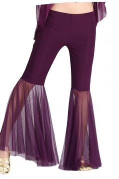 Women Mermaid Mesh Patchwork Belly Dance Pants Purple