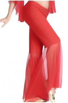 Women Mermaid Mesh Patchwork Belly Dance Pants Red