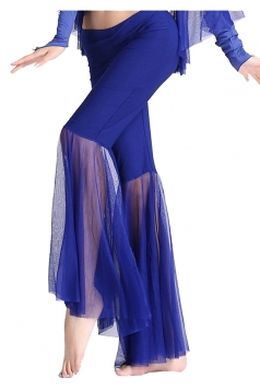 Women Mermaid Mesh Patchwork Belly Dance Pants Sapphire Blue