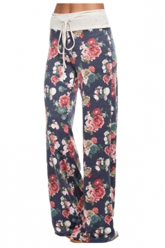 Women Casual Draw String Floral Printed Loose Pants Rose Red