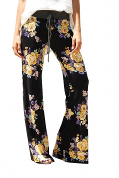 Women Casual Draw String Floral Printed Loose Pants Yellow