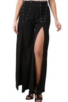 Women Wide Legs High Slits Leisure Pants Black