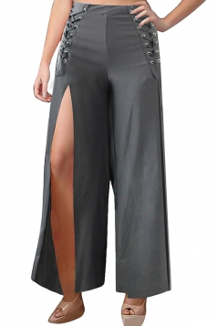 Women Wide Legs High Slits Leisure Pants Gray
