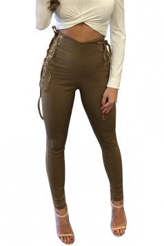 Women Eyelet Cross Lace Up High Waist Plain Leisure Pants Khaki