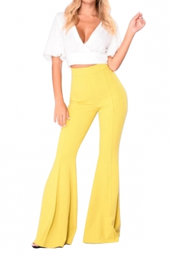 Women Bell Bottom High Waist Plain Leisure Pants Yellow