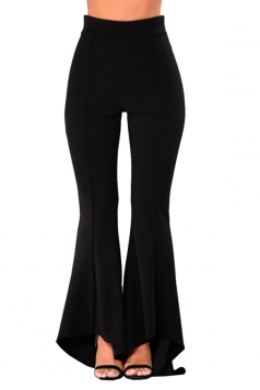 Women Elegant High Low Flare Bottom Leisure Pants Black