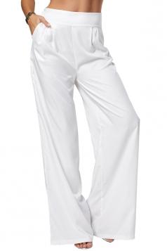 Women Plus Size Wide Legs Plain Leisure Pants White