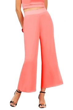 Women Elastic Waist Double Layer Chiffon Wide Legs Pants Pink