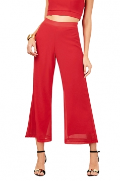 Women Elastic Waist Double Layer Chiffon Wide Legs Pants Red