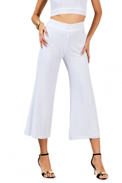 Women Elastic Waist Double Layer Chiffon Wide Legs Pants White
