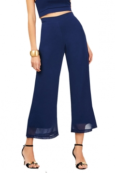 Women Elastic Waist Double Layer Chiffon Wide Legs Pants Navy Blue
