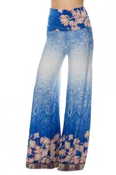 High Waist Bohemia Printed Wide Legs Leisure Pants Blue