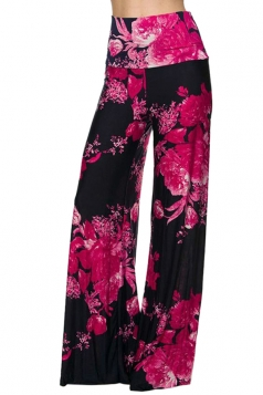 High Waist Bohemia Printed Wide Legs Leisure Pants Rose Red