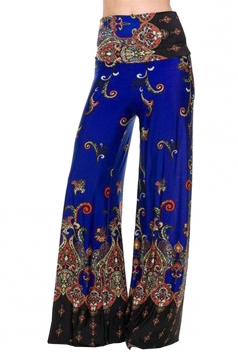 High Waist Bohemia Printed Wide Legs Leisure Pants Sapphire Blue