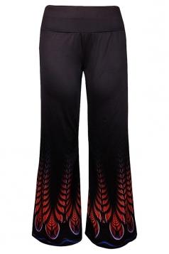 Women High Waist Bohemia Pattern Printed Wide Legs Pants Black
