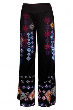 Women High Waist Bohemia Pattern Printed Wide Legs Pants Dark Purple