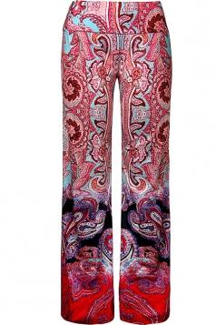 Women High Waist Bohemia Pattern Printed Wide Legs Pants Dark Red