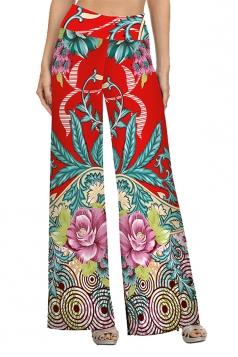Women High Waist Bohemia Pattern Printed Wide Legs Pants Green