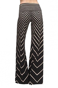 Women Casual Drawstring Stripe Loose Pants Black