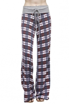 Women Casual Drawstring Plaid Loose Pants Purple