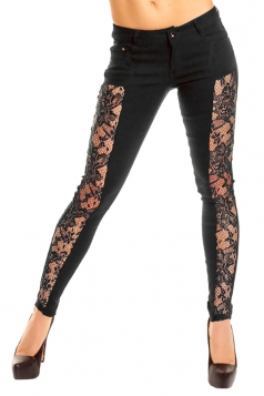 Women Sexy Lace Patchwork Skinny Pants Black