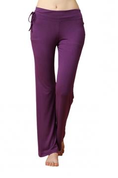 Women Modal Elastic Plain Wide Legs Yoga Sports Wear Pants Purple
