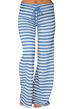 Womens Casual Drawstring Stripes Loose Loungewear Pants Blue