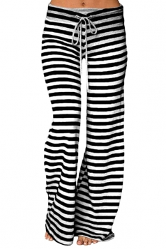 Womens Casual Drawstring Stripes Loose Loungewear Pants Black