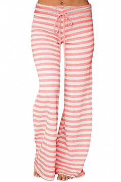 Womens Casual Drawstring Stripes Loose Loungewear Pants Pink