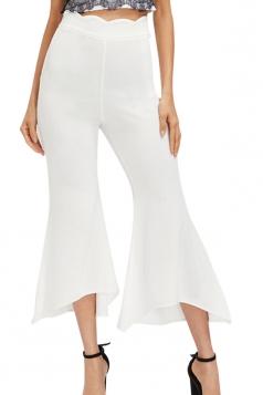 Womens Wide Leg Bell Bottom Plain Leisure Pants White