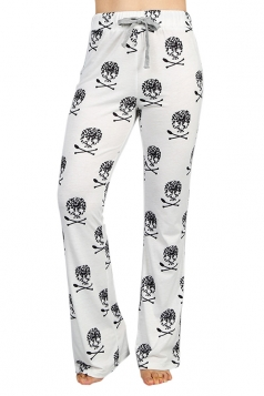 Womens Skull Printed Straight Wide Leg Loungewear Pants White